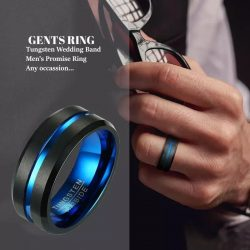 Albert 2 black tungsten ring with blue accents Mens Wedding Rings