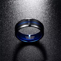 Albert 3 black tungsten ring with blue accents Mens Wedding Rings