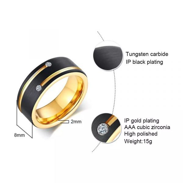 Berlin 4 Yellow Gold Plated Tungsten ring with cubic zirconias Mens Wedding Rings