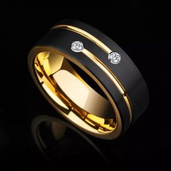 Berlin 7 Yellow Gold Plated Tungsten ring with cubic zirconias Mens Wedding Rings