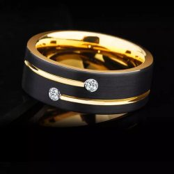 Berlin 8 Yellow Gold Plated Tungsten ring with cubic zirconias Mens Wedding Rings
