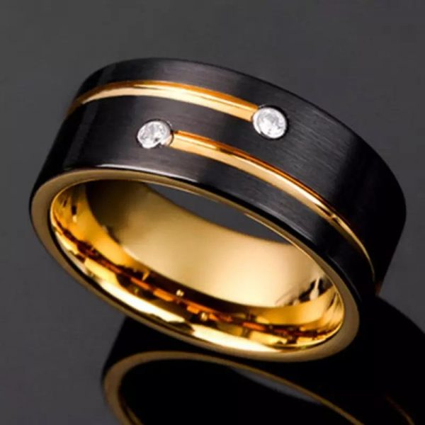 Berlin 9 Yellow Gold Plated Tungsten ring with cubic zirconias Mens Wedding Rings