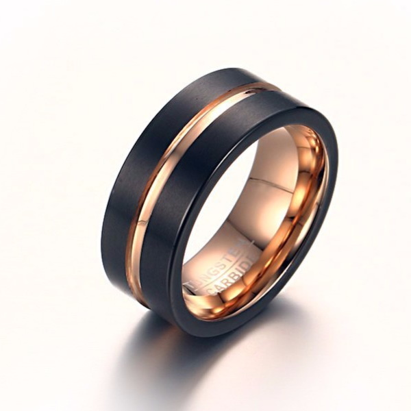 Executive Mens Tungsten Ring Close Mens Wedding Rings