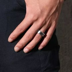Johnny 4 mens ring tungsten silver blue stripe Mens Wedding Rings