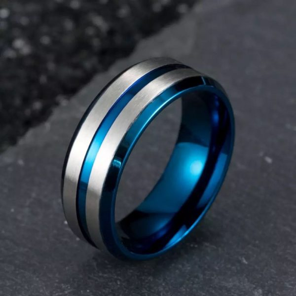 Denmark 2 Mens Ring Blue inner band with silver outer bands and centre inlay Mens Wedding Rings