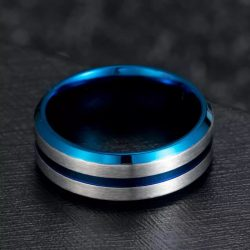 Denmark 3 Mens Ring Blue inner band with silver outer bands and centre inlay Mens Wedding Rings