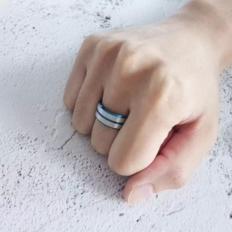 Denmark 4 Mens Ring Blue inner band with silver outer bands and centre inlay Mens Wedding Rings