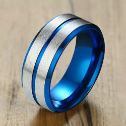 Denmark 5 Mens Ring Blue inner band with silver outer bands and centre inlay Mens Wedding Rings