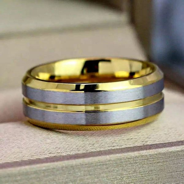 amsterdam 2 gold ring tungsten with silver bands Mens Wedding Rings