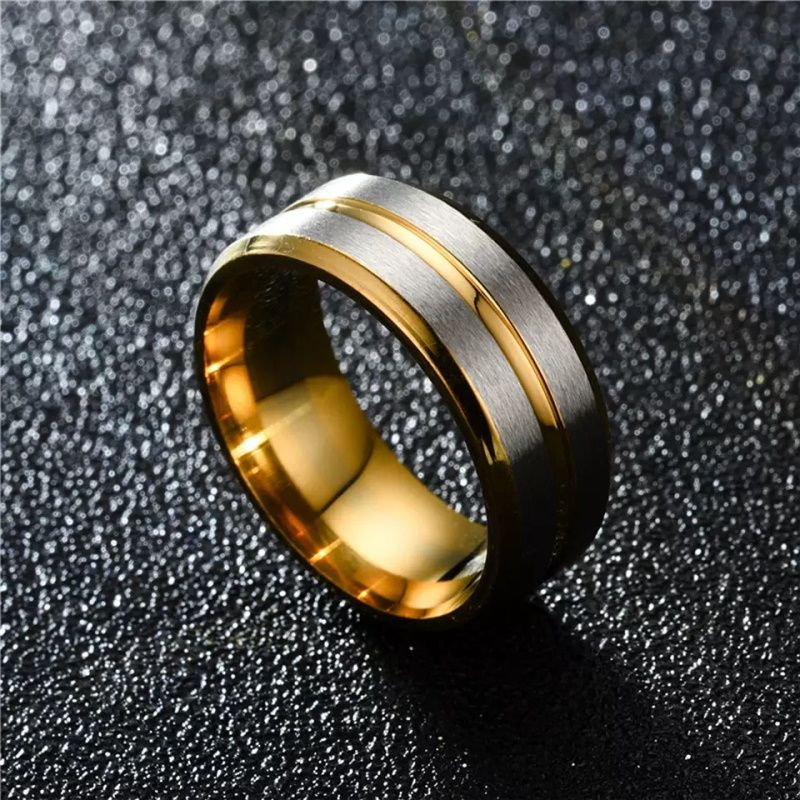 amsterdam 3 gold ring tungsten with silver bands Mens Wedding Rings