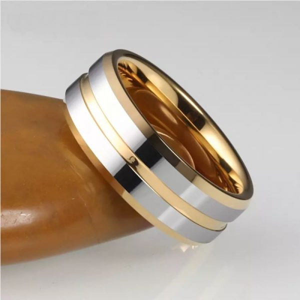 amsterdam 4 gold ring tungsten with silver bands Mens Wedding Rings