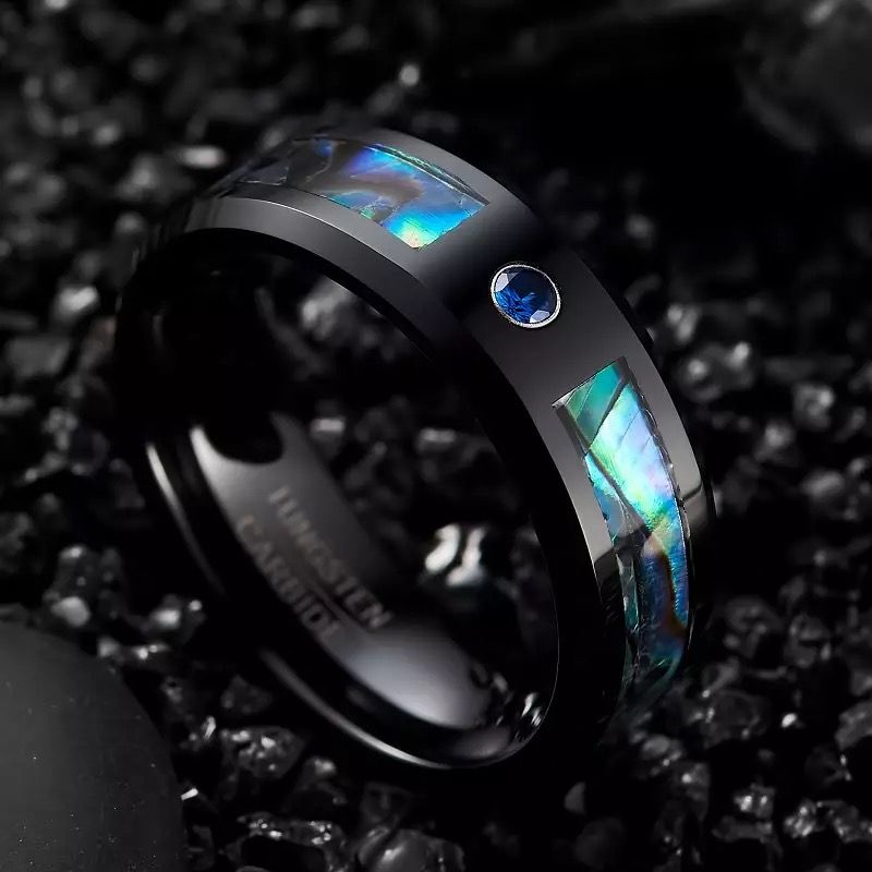 lincoln 2 black mens ring with opal and blue cz Mens Wedding Rings