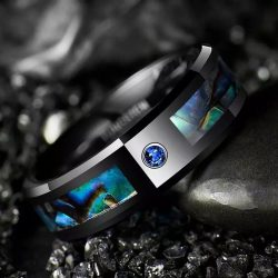 lincoln 3 black mens ring with opal and blue cz Mens Wedding Rings