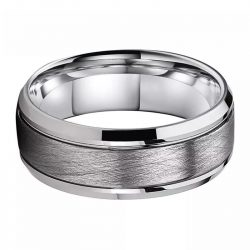 Chase 2 Silver Mens Tungsten Ring with brushed centre Mens Wedding Rings