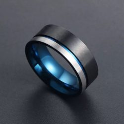 Coleman 2 Mens Black and blue tungsten ring with silver stripe Mens Wedding Rings