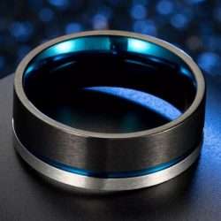 Coleman 4 Mens Black and blue tungsten ring with silver stripe Mens Wedding Rings