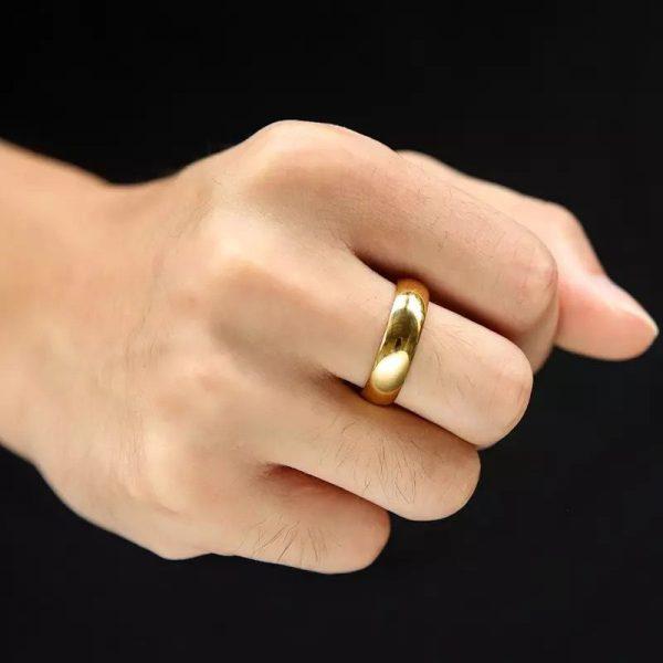 Embassy 6mm 2 Simple Gold Tungsten Mens Ring Mens Wedding Rings