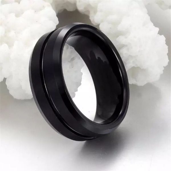 Koko 2 Black Tungsten Ring Mens with centre groove Mens Wedding Rings