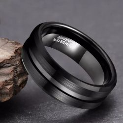 Koko 4 Black Tungsten Ring Mens with centre groove Mens Wedding Rings