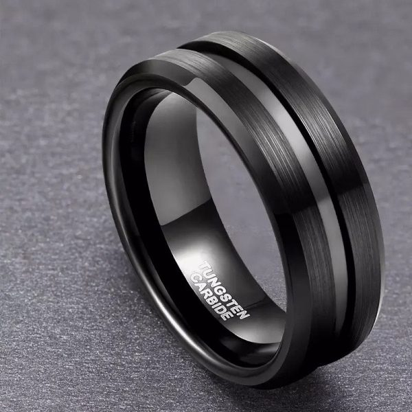 Koko 5 Black Tungsten Ring Mens with centre groove Mens Wedding Rings