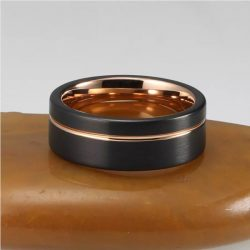 Powell 4 black and rose gold tungsten ring mens with rose gold groove Mens Wedding Rings
