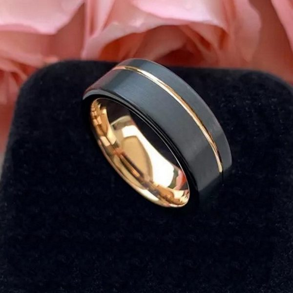 Powell 5 black and rose gold tungsten ring mens with rose gold groove Mens Wedding Rings