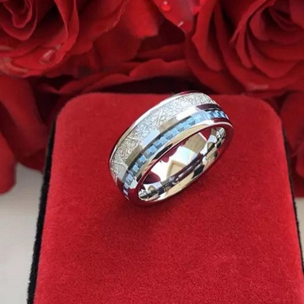 Saturn 2 Mens Rings tungsten silver with deer antler inlay and carbon fibre inlay wedding band Mens Wedding Rings