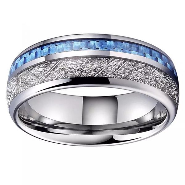Saturn 3 Mens Rings tungsten silver with deer antler inlay and carbon fibre inlay wedding band Mens Wedding Rings