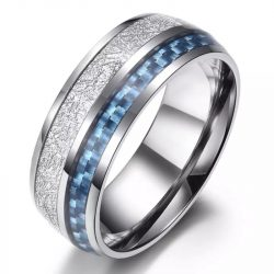 Saturn 4 Mens Rings tungsten silver with deer antler inlay and carbon fibre inlay wedding band Mens Wedding Rings