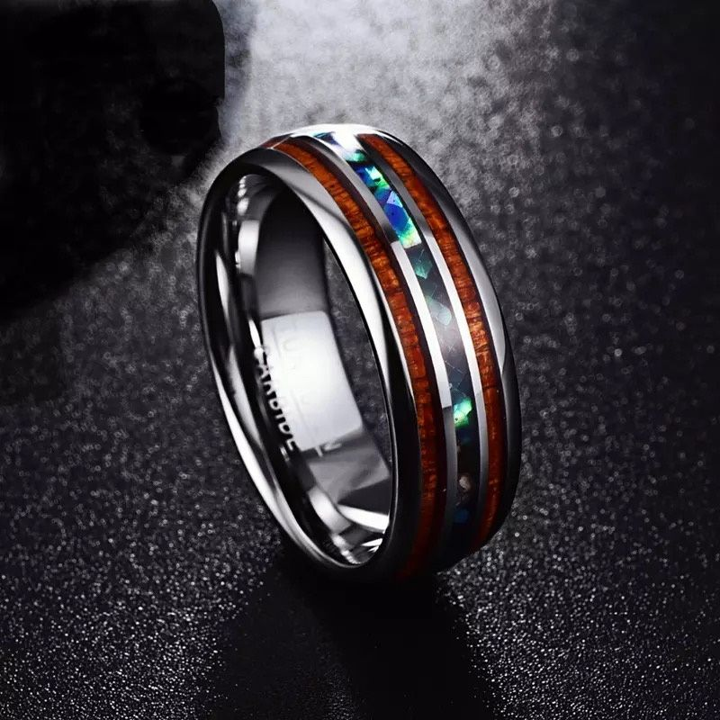 Venus 3 Black mens tungsten ring with koa wood inlays and an opal inlay Mens Wedding Rings