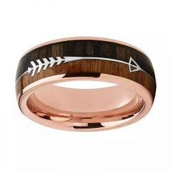 Wanderer 2 rose gold mens ring with wood inalys and silver arrow tungsten wedding ring Mens Wedding Rings