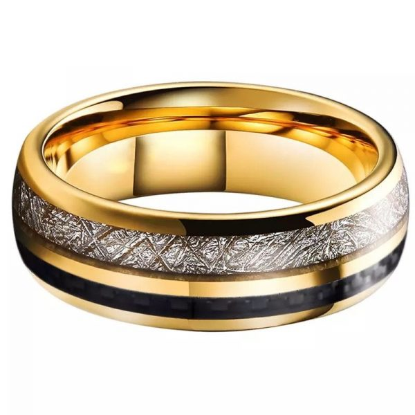 viking 2 Gold tungsten ring with deer antler inlay and black carbon fibre inlay Mens Wedding Rings