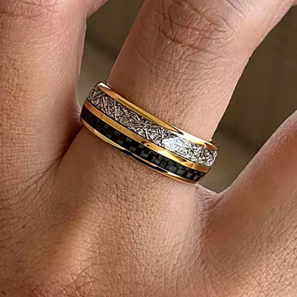 viking 3 Gold tungsten ring with deer antler inlay and black carbon fibre inlay Mens Wedding Rings