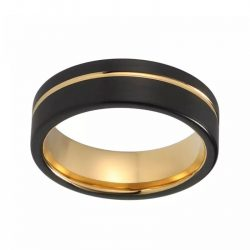 Nubia 2 mens black gold tungsten ring yellow gold plated Mens Wedding Rings