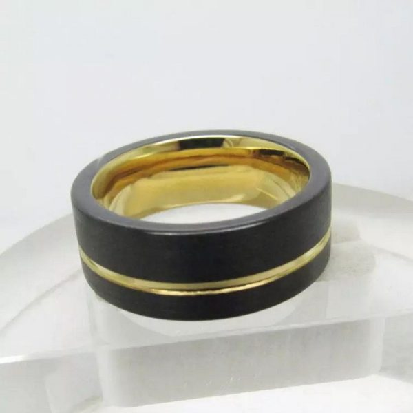 Nubia 4 mens black gold tungsten ring yellow gold plated Mens Wedding Rings