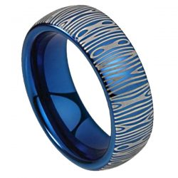 Blue Damascus Steel ring