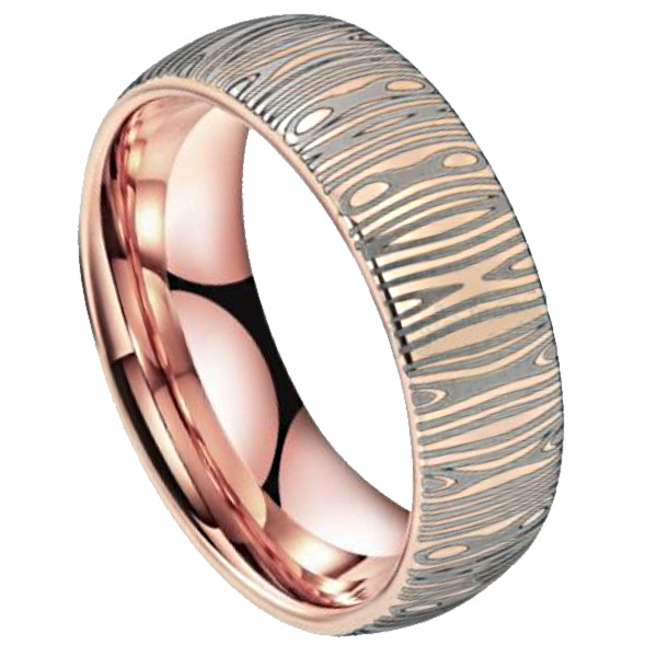 rose gold damascus ring