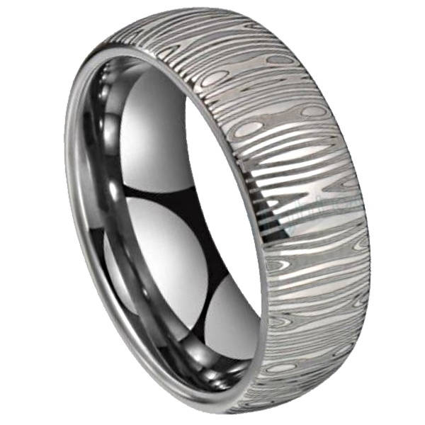 silver damascus ring